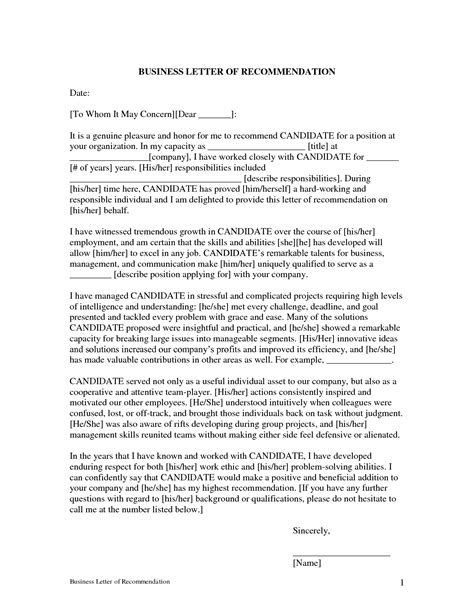 professional letter of recommendation professional letter of recommendation template free 8963