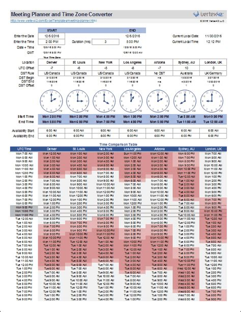 world meeting planner time zone converter