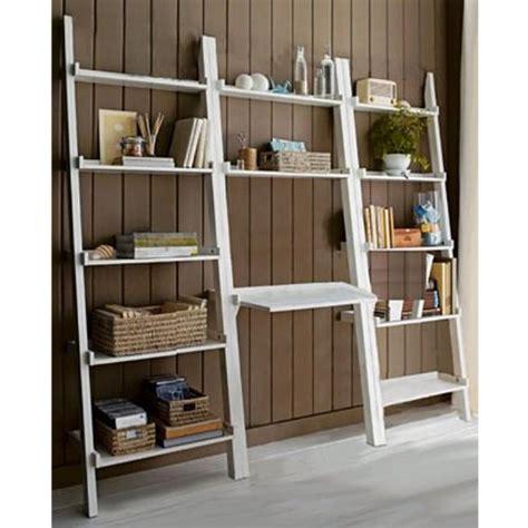 ladder shelf desk white 3 piece white leaning ladder bookshelf with laptop desk