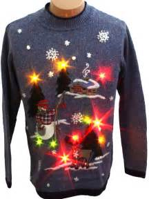 womens light up fishing snowman sweater