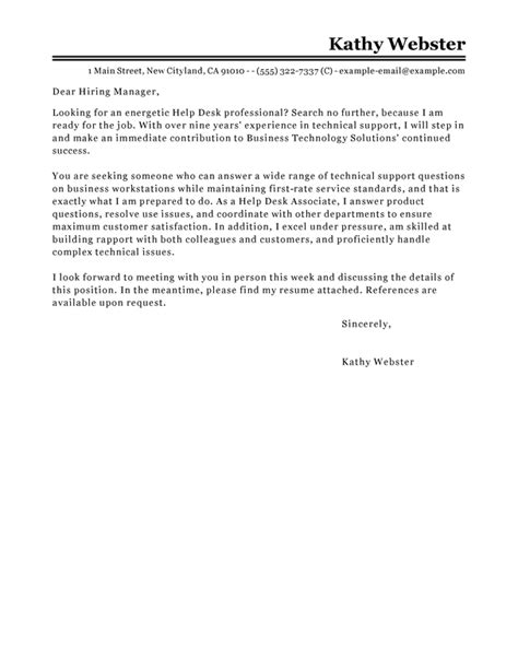 Cover Letter Help by Best Help Desk Cover Letter Exles Livecareer