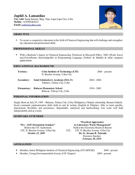 Free Student Resume Sles by Resume Sle For Ojt Free Large Images