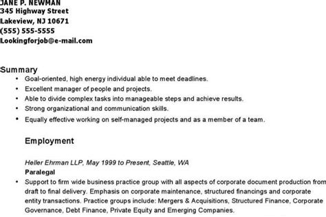 Corporate Securities Paralegal Resume by Structured Resume Template