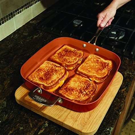 red copper cookware   square frying pan  bulbhead  stick  scratch resistant