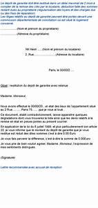 Délai Restitution Caution Dépassé : modele de lettre non restitution caution ~ Medecine-chirurgie-esthetiques.com Avis de Voitures