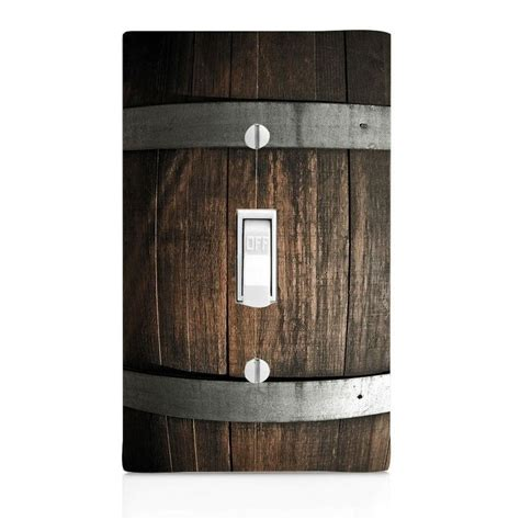 light switch plate cover wine barrel wood wall plate