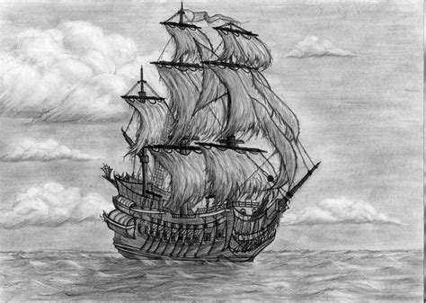 How To Draw A Traditional Boat by The Flying Dutchman Ship By Arikkh On Deviantart