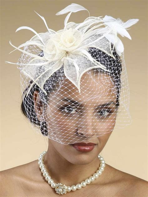 Sinamay Cocktail Hat With French Net Birdcage Veil
