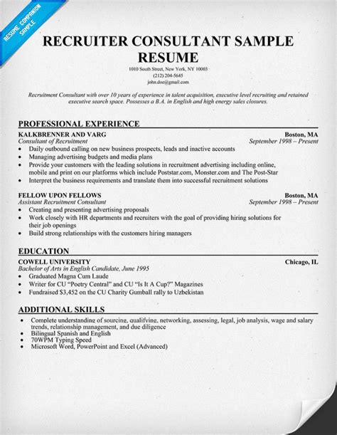 recruiter resume objective sles recruiter consultant resume resumecompanion resume sles across all industries