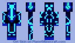 Neon Creeper Blue Minecraft Skin