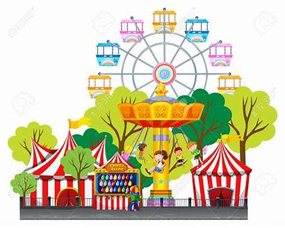 Amusement Clipart Park Fun Children Swing Vector