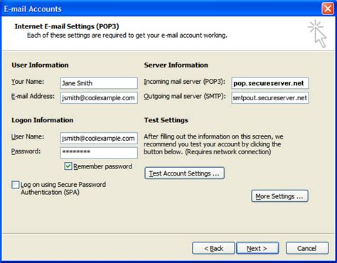 setting   email accounts  microsoft outlook
