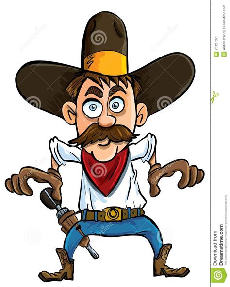 cartoon cowboy ready  draw stock illustration