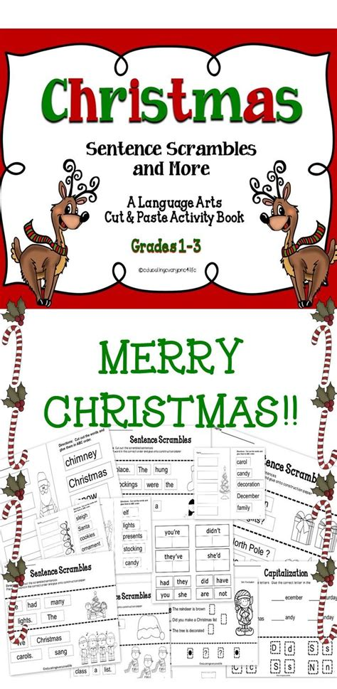 christmas sentence scrambles more language arts activities cut and paste activities and