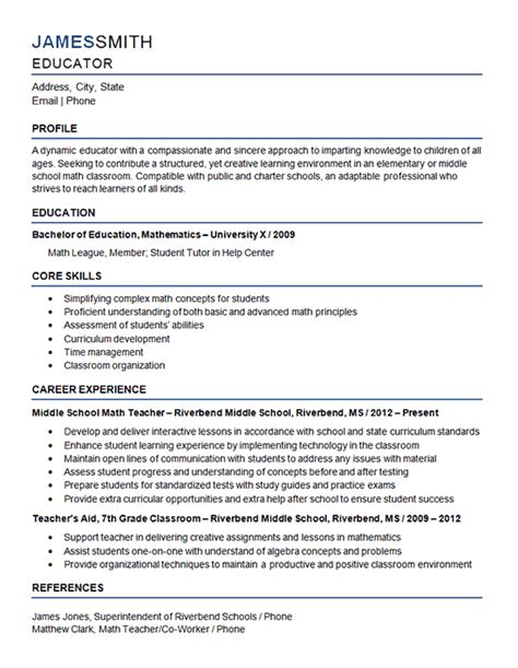 curriculum vitae format  school teacher