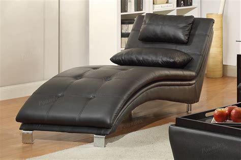Black Leather Chaise Lounge  Stealasofa Furniture