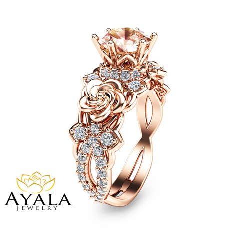 14k rose gold morginate engagement ring unique floral rose gold engagement ring ebay