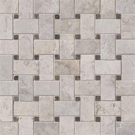 tundra gray basketweave polished marble backsplash tile