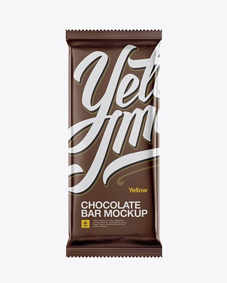 Create a realistic chocolate package mockup display in few seconds. Matte Chocolate Bar Mockup in Flow-Pack Mockups on Yellow ...