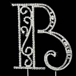 romanesque swarovski crystal wedding cake topper letter b With swarovski cake topper letters