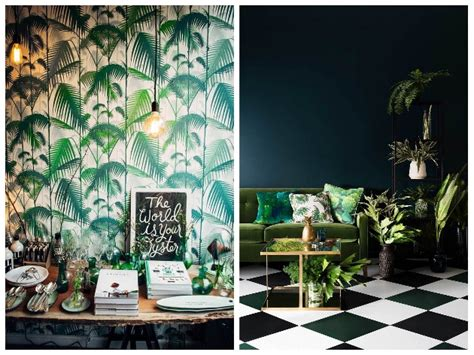 chambre bleu et blanc tendance jungle nature luxuriante et camaïeu de verts