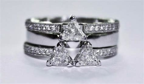 Zelda Inspired Triforce Engagement Ring (three-piece Set