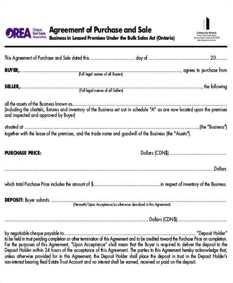 sale of business agreement form 6 sle purchase and sale of business agreements