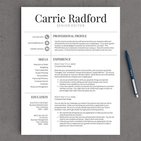 classic professional resume template for word us letter