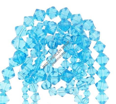 glasperlen doppelkegel perlen rhomben blau glas