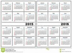 Calendar Template 2015, 2016 Stock Vector Image 43273061