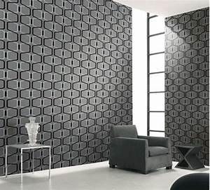 Designer Grey 3D Geometric Modern Velvet Wallpaper Textile ...