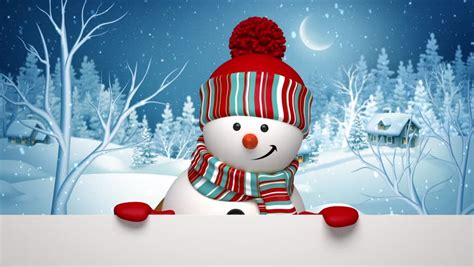 Animated Snowman Wallpaper - snowman winter greeting stock footage