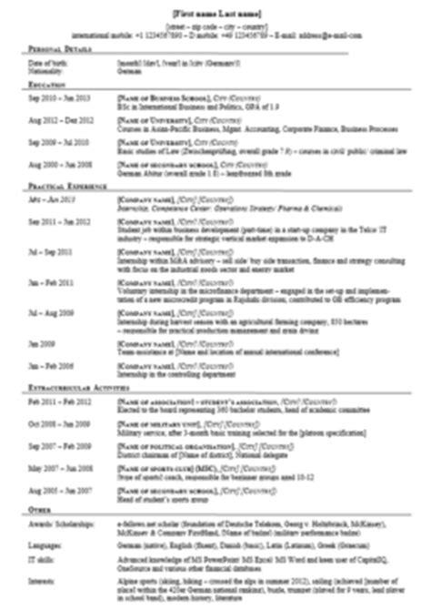 Cv Englisch Muster by Curriculum Vitae Vorlage Englisch