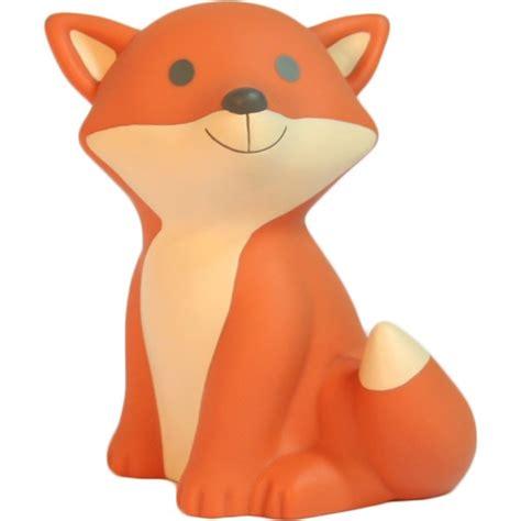 deco chambre gris et veilleuse renard orange avec led et piles