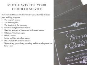 how to do a wedding ceremony program wedding order of service what to include in your wedding