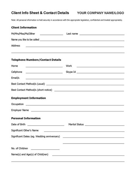 Client Information Form Template Free by Client Info Sheet Template Coaching Tools From The
