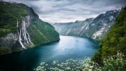 Norway River Mountain Waterfall Nature Landscape Desktop