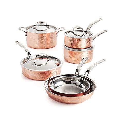 lagostina martellata hammered copper  piece cookware set crate  barrel