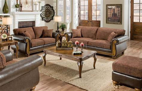 Sofa Loveseat by Brown Fabric Traditional Sofa Loveseat Set W Faux