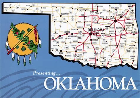 large map  oklahoma state  roads  highways