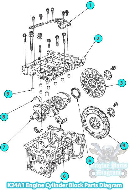 Honda Cr V Engine Diagram by 2002 Honda Cr V Cylinder Block Parts Diagram K24a1 Engine