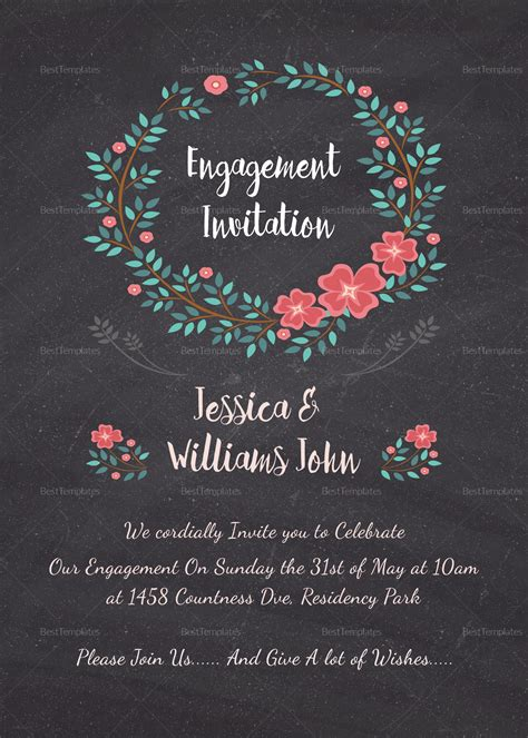 Engagement Invitation Card Design Template in Word PSD