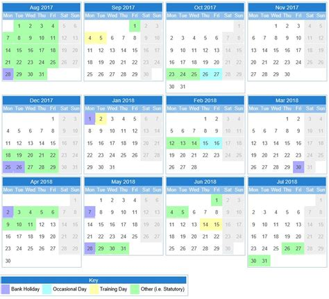 Calendar School School Calendar Rainbow Primary School