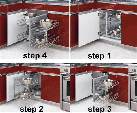 kitchen blind corner cabinet organizer chrome baskets