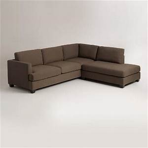 Linen upholstered furniture world market for Separate sectional sofa pieces