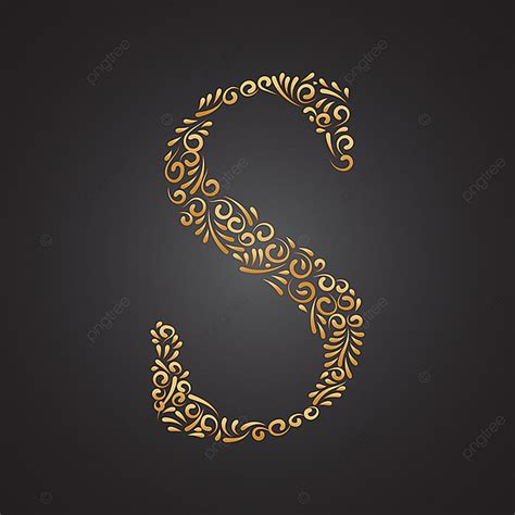 floral golden ornamental letter  text effect eps