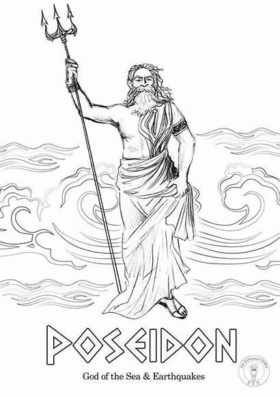 Greek Coloring Gods Pages Mythology Goddesses God