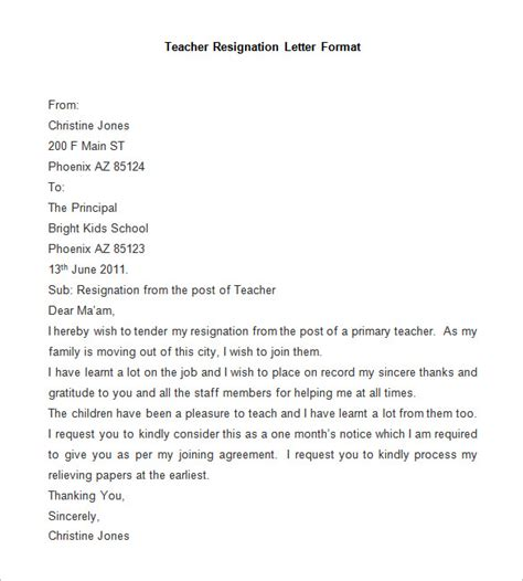 resignation letter template   word  documents