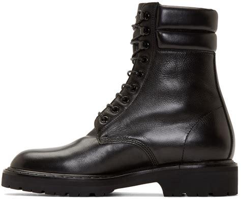 Lyst Saint Laurent Black Leather High Combat Boots