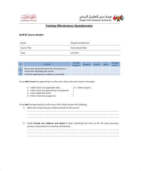 training questionnaire examples samples